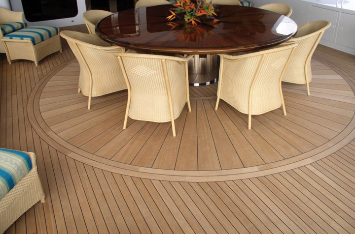 Teak deck on yacht